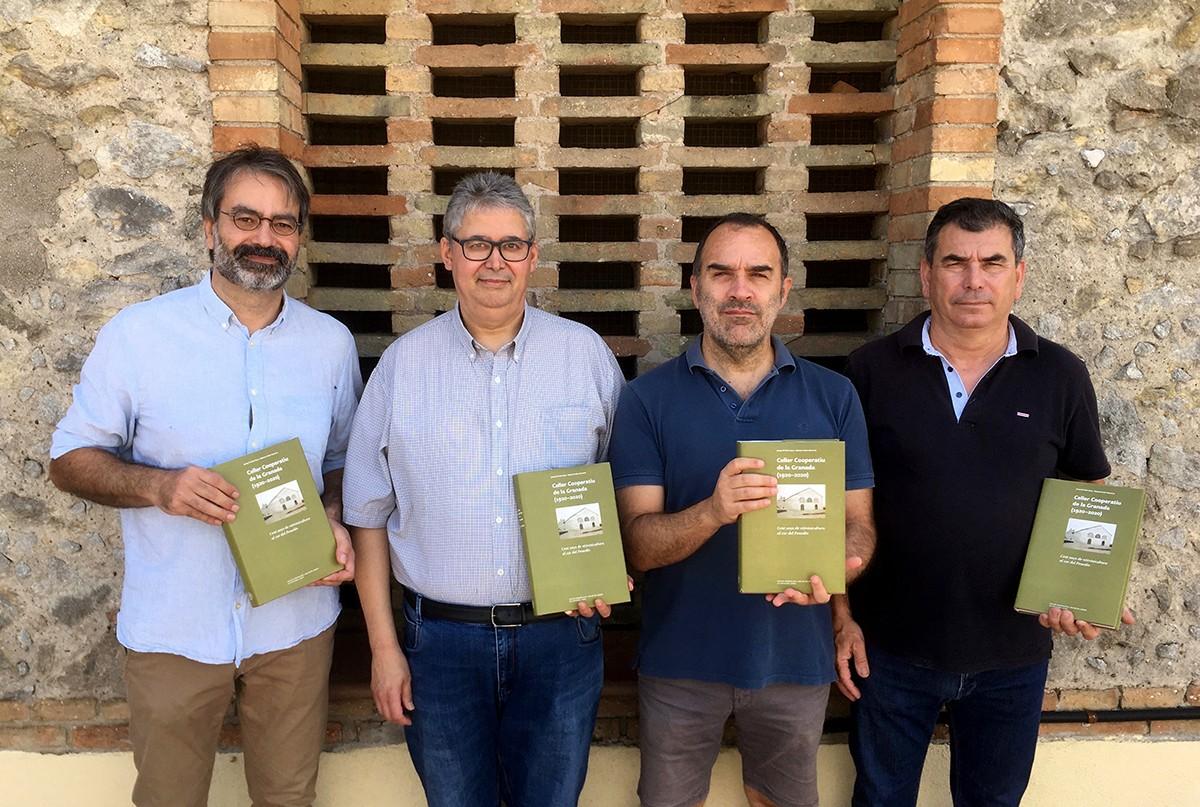 D'esquerra a dreta: Jordi Sadurní, Raimon Soler, Josep Maria Feliu i Joan Pons (president del Celler Cooperatiu de la Granada)