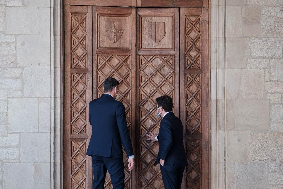 Pere Aragonès i Pedro Sánchez, aquest dimecres a la Generalitat.