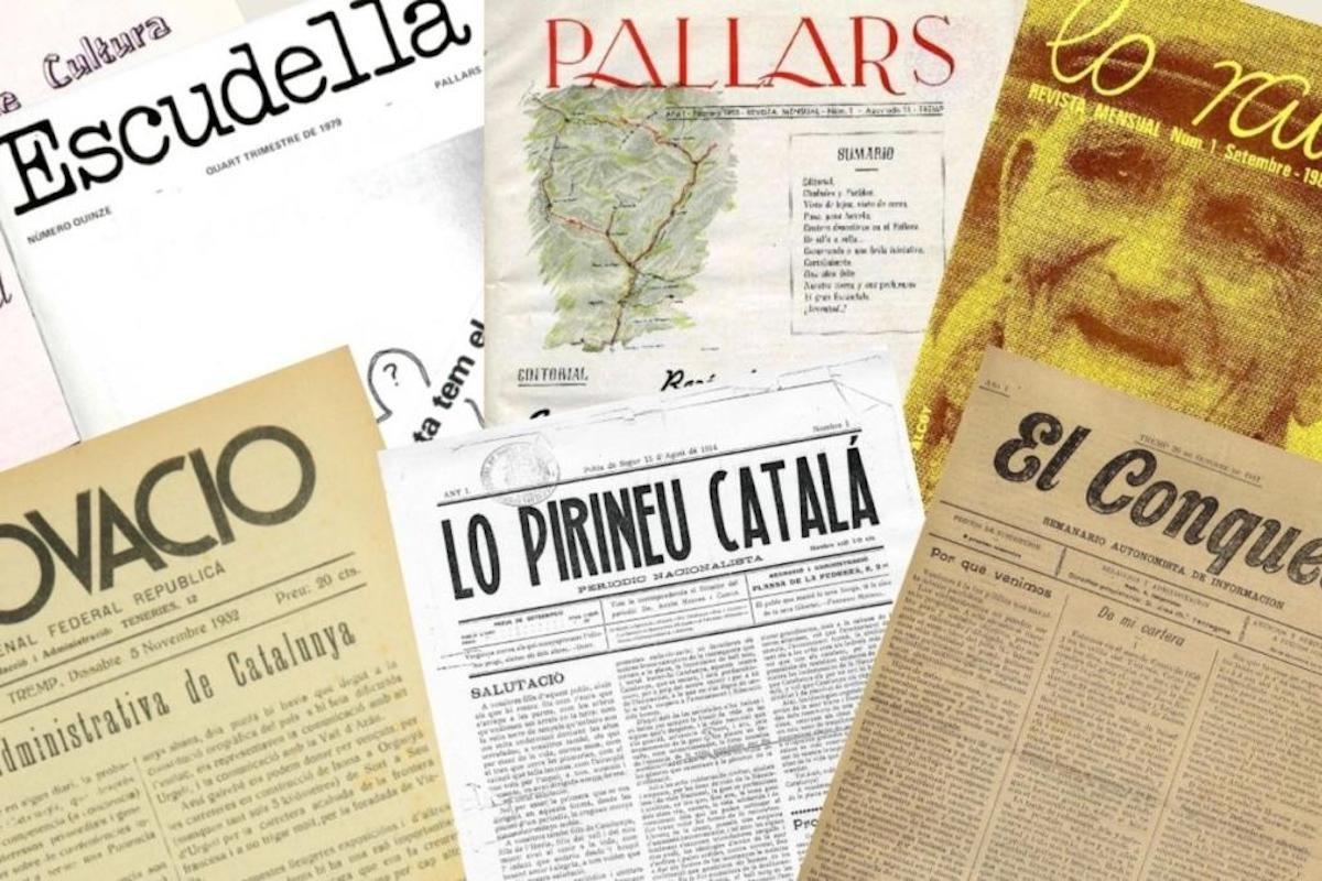Imatge de les portades d'alguns dels periòdics sorgits al Pallars