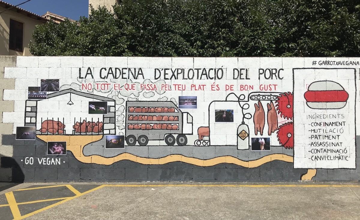 L'obra s'ha pintat al carrer Fontanella, al pàrquing de l'antic escorxador municipal d'Olot.
