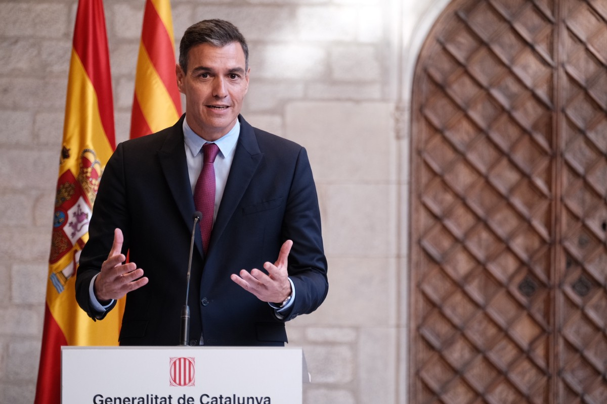Pedro Sánchez, just després de la reunió amb Pere Aragonès.