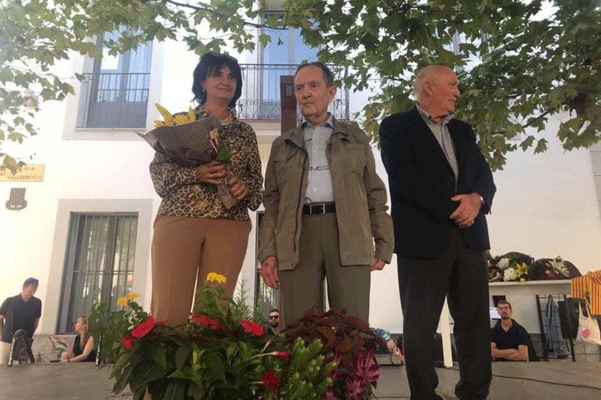 Josep Haro, al centre, en ser homenatjat el 2019