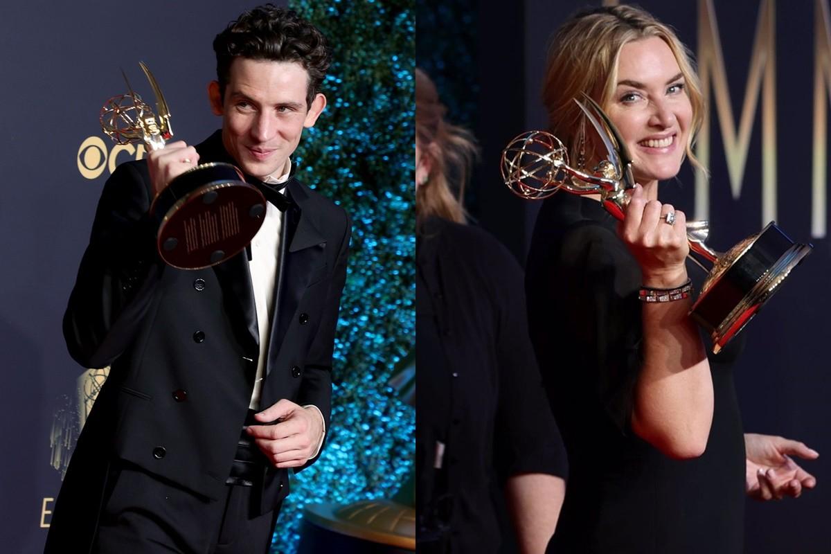 Josh O'Connor i Kate Winslet, amb els seus guardons
