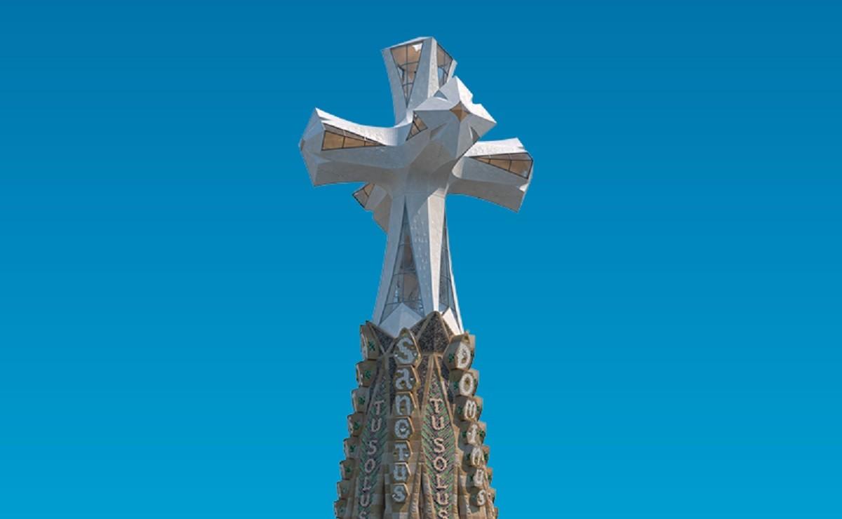 Recreació de la torre de Jesucrist que s'està construint a la Sagrada Família.
