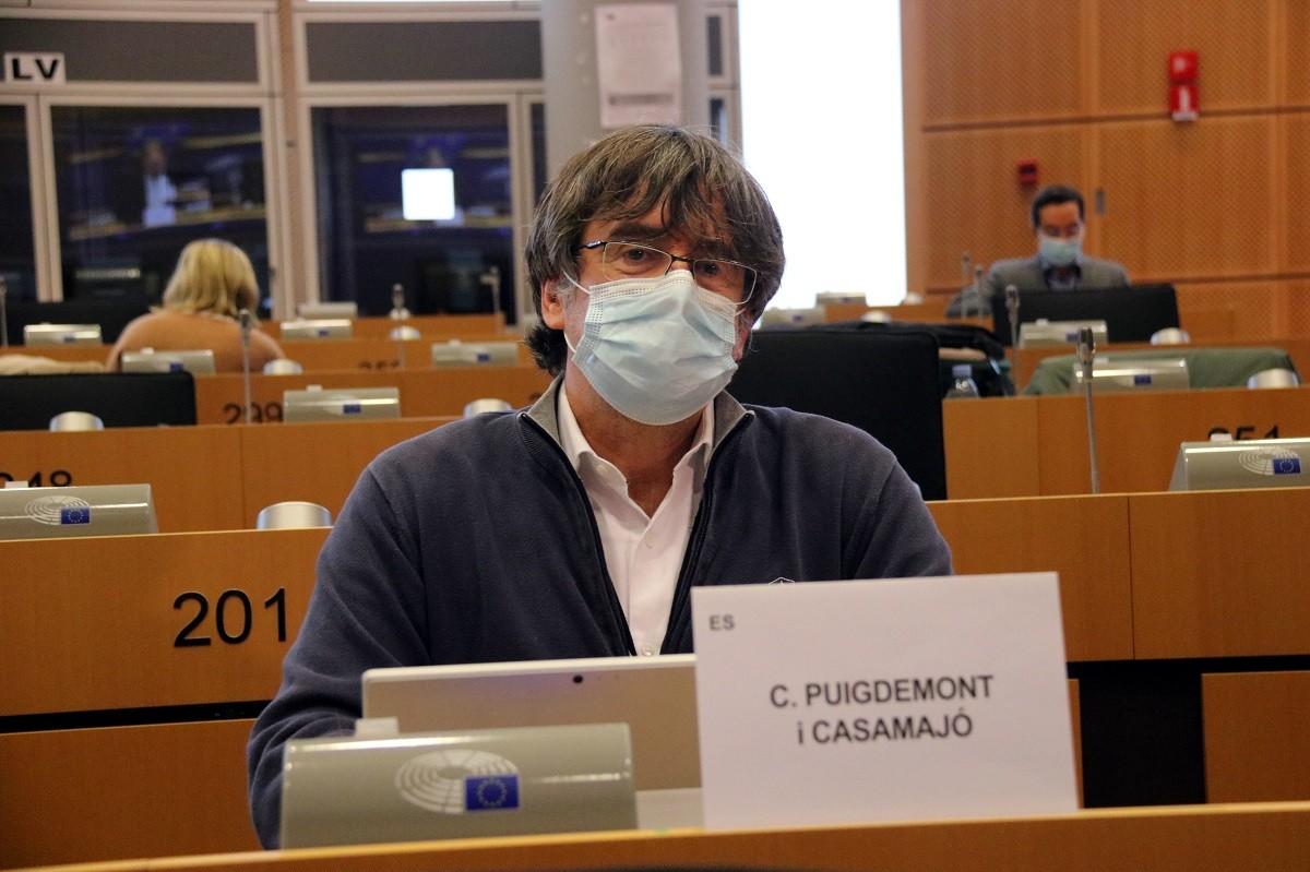 Carles Puigdemont en una comissió del Parlament Europeu aquest dilluns