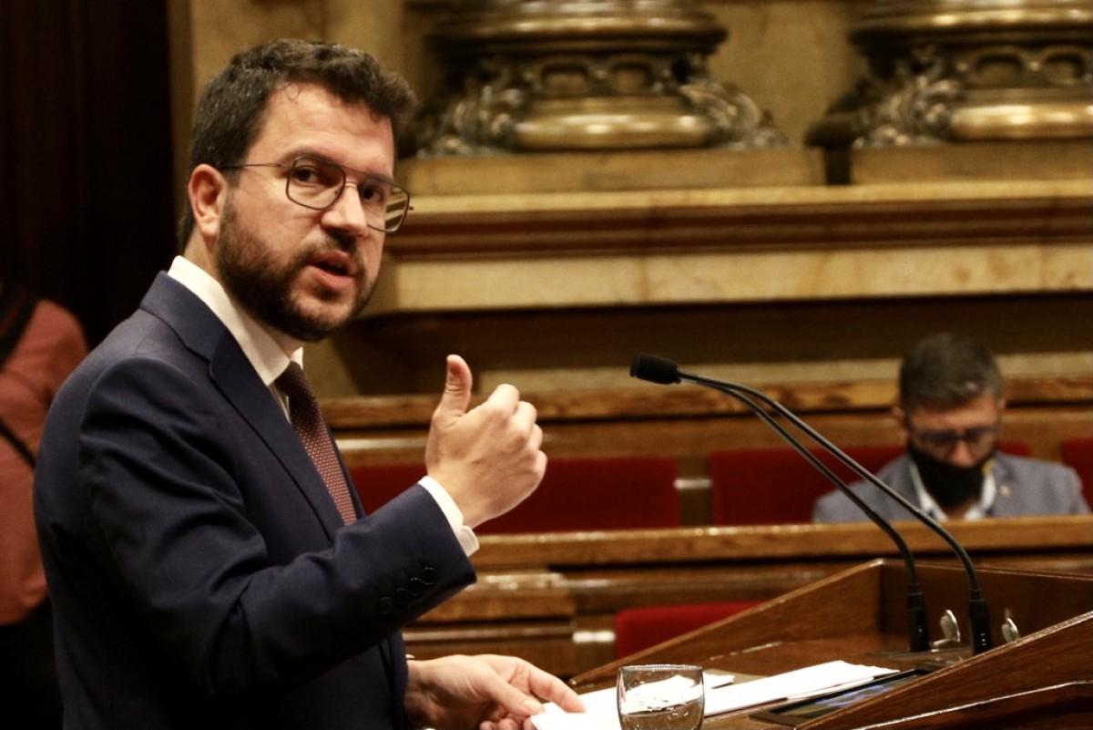 Pere Aragonès, durant el discurs a l'hemicicle.