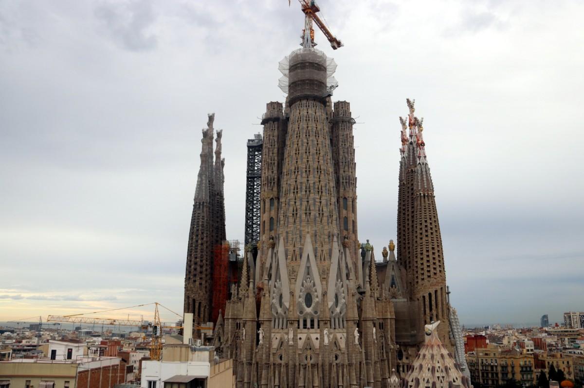 Una imatge de les obres a la Sagrada Família, el passat mes de juny
