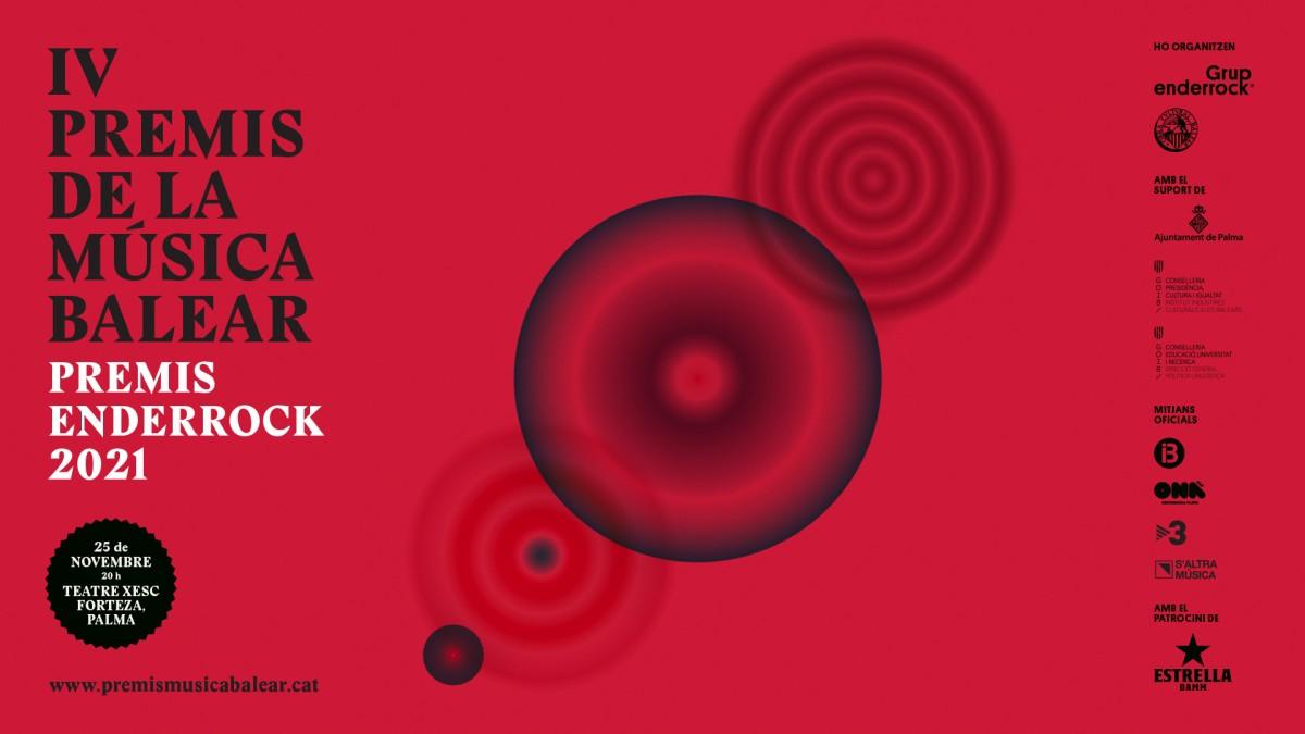 Cartell dels IV Premis Enderrock de la Música Balear | Disseny de Manuel Cuyàs.