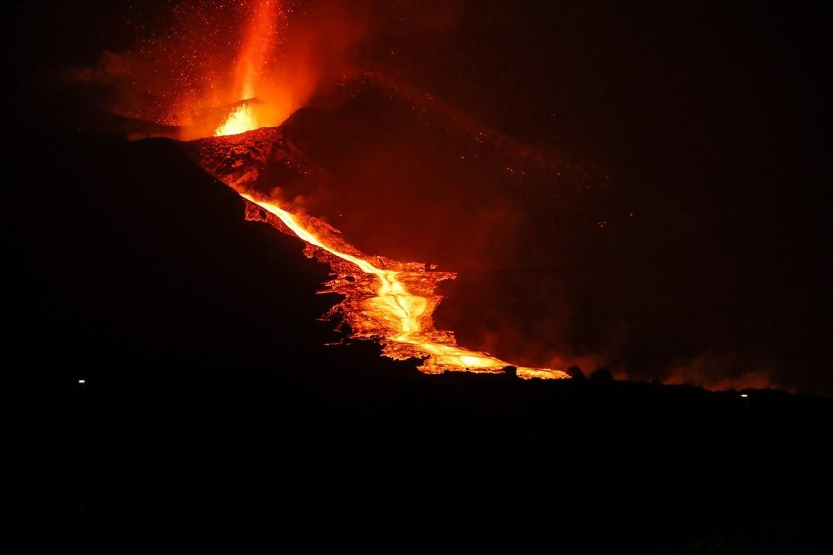 El volcà, en plena erupció