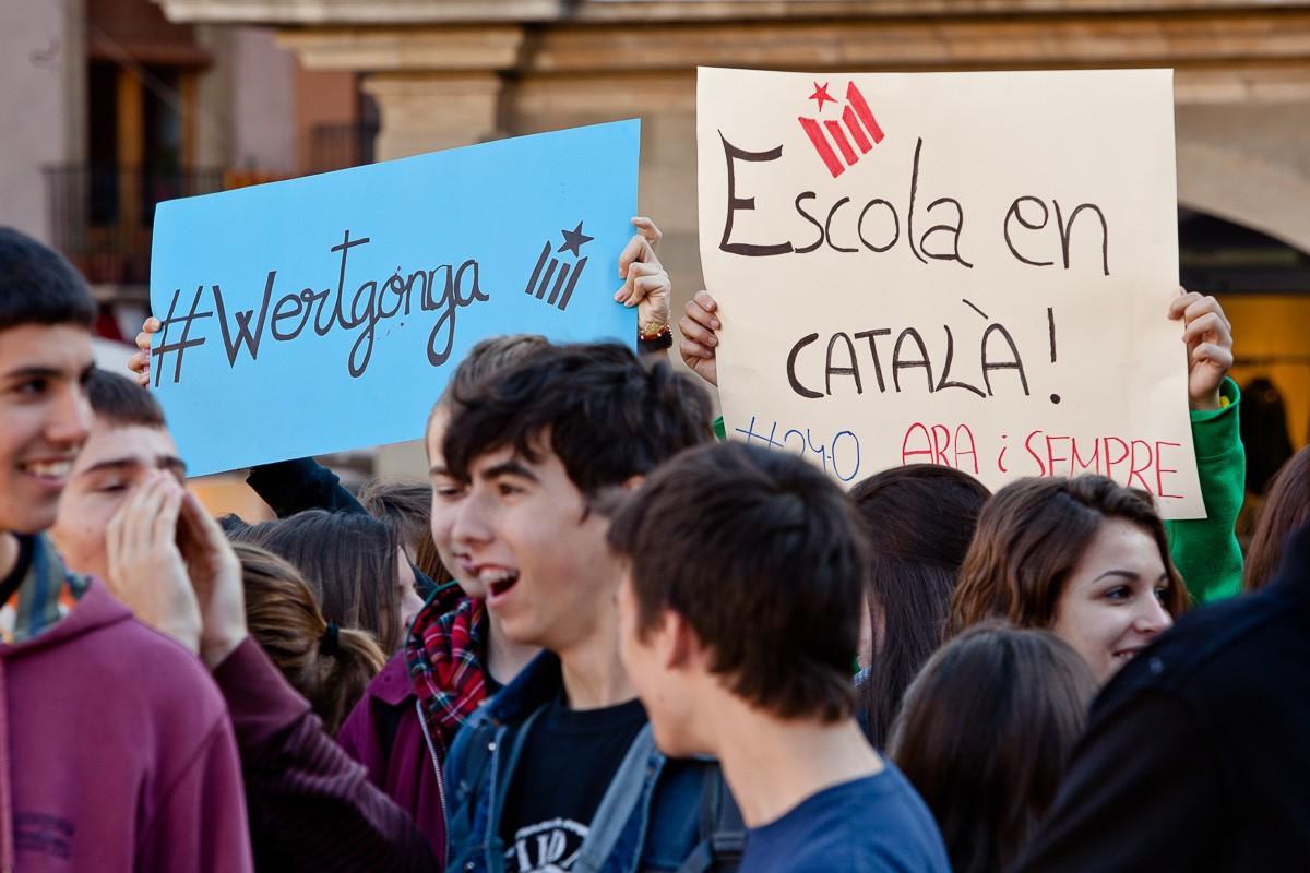 Manifestació d'estudiants contra la llei Wert, l'any 2013
