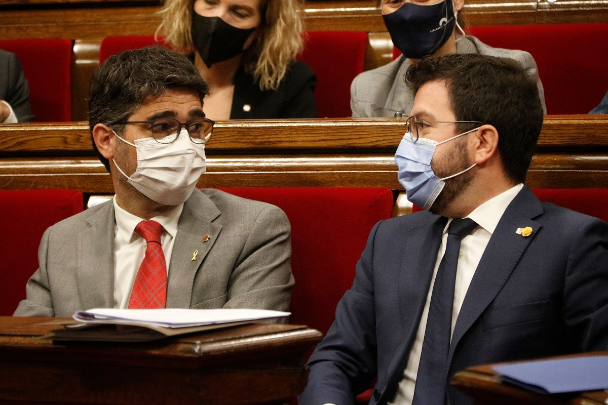 Pere Aragonès i Jordi Puigneró, aquest dimecres al Parlament.