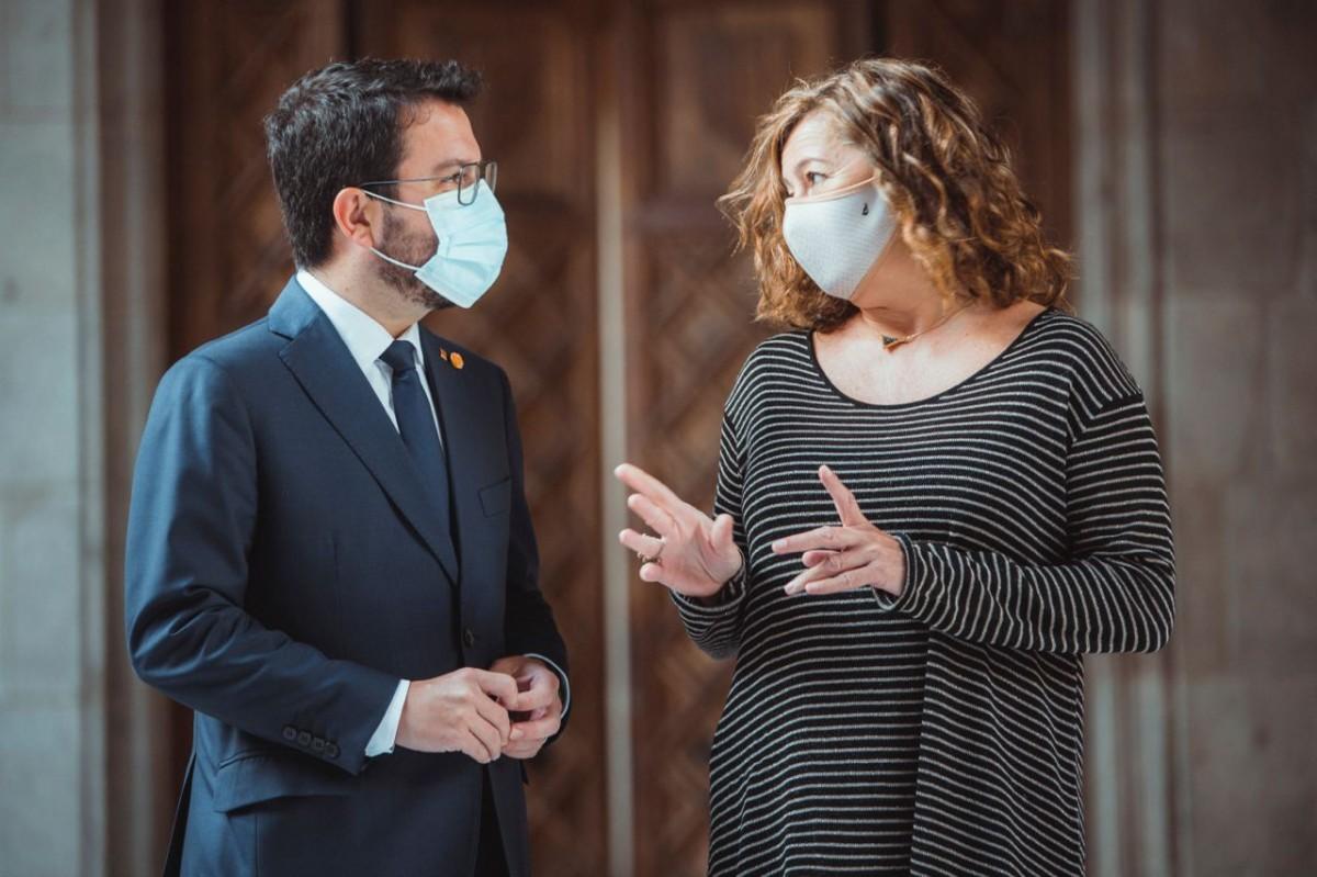 El president de la Generalitat, Pere Aragonès, reunit amb la presidenta balear, Francina Armengol.