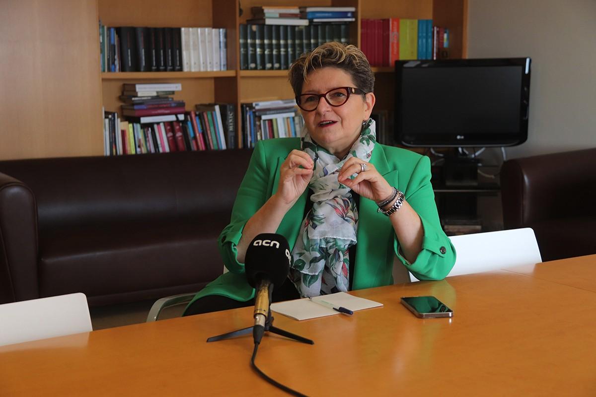 La delegada del Govern, Teresa Pallarès, durant l'entrevista feta a la delegació de Tarragona.