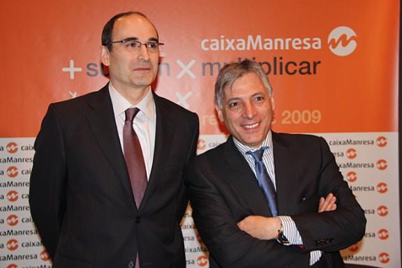 El director general i el president de Caixa Manresa, Feliu Formosa i Manel Rosell, el març de 2010