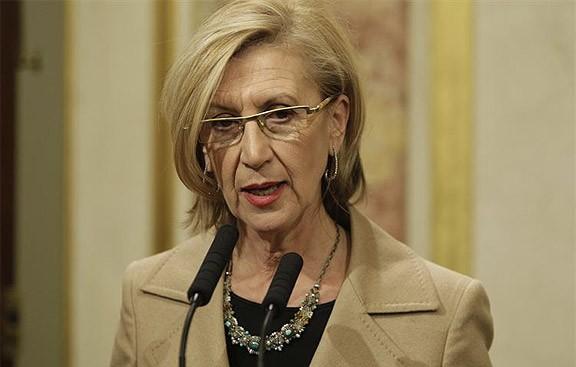 Rosa Díez, en una roda de premsa al Congrés espanyol