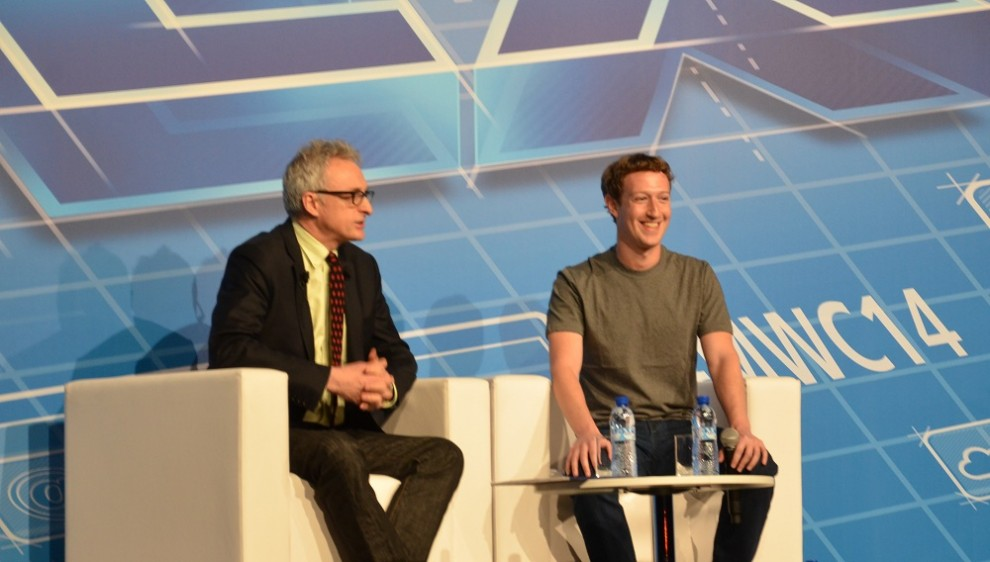 Mark Zuckerberg, durant la conferència que ha ofert al Mobile World Congress