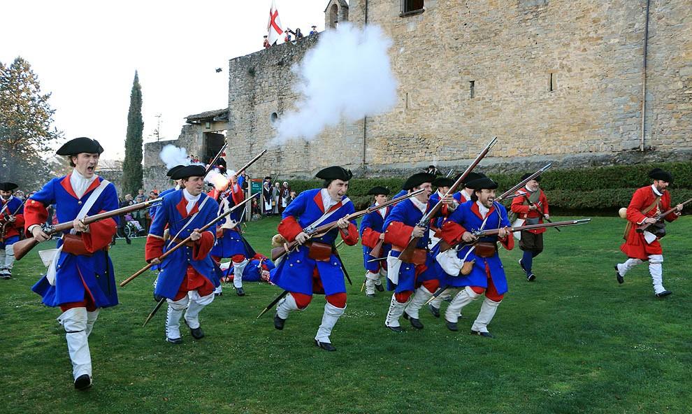 Recreació de la batalla de Montesquiu de 1714.