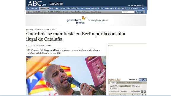 Els mitjans espanyols, encesos en veure Guardiola al «Catalans Want To Vote»