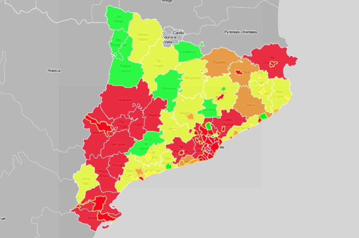 Mapa Interactiu Municipis Catalunya.Mapes El Risc De Rebrot Ja Es Alt A 16 Comarques I 38 Ciutats Catalanes Naciodigital